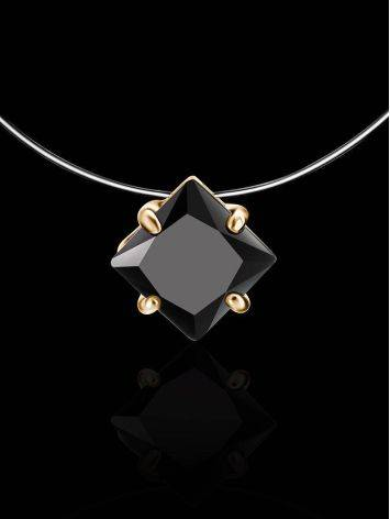 Invisible Line Necklace With Black Square Crystal The Aurora, Length: 40, image , picture 2
