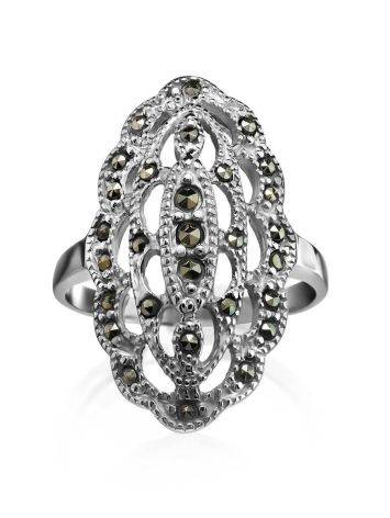 Silver Cocktail Ring With Marcasites The Lace, Ring Size: 6.5 / 17, image , picture 3