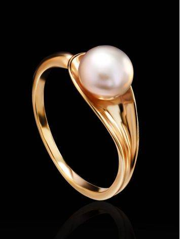 Gold-Plated Ring With Creamrose Cultured Pearl The Serene, Ring Size: 6.5 / 17, image , picture 2