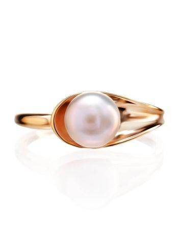 Gold-Plated Ring With Creamrose Cultured Pearl The Serene, Ring Size: 6.5 / 17, image , picture 3