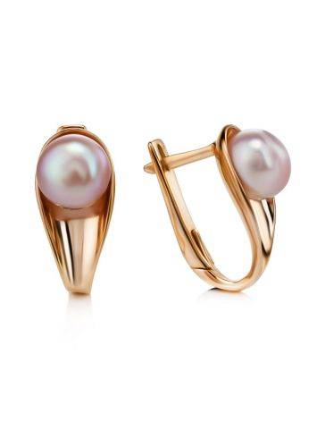 Gold-Plated Earrings With Creamrose Cultured Pearl The Serene, image