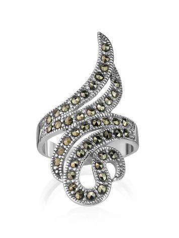 Snake Design Silver Ring With Marcasites The Lace, Ring Size: 8 / 18, image