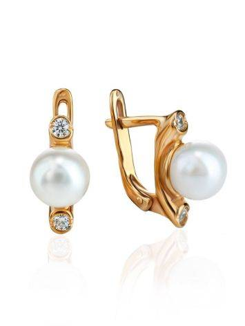 Gold Plated Earrings With Cultured Pearl And Crystals The Themis, image