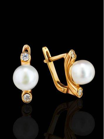 Gold Plated Earrings With Cultured Pearl And Crystals The Themis, image , picture 2