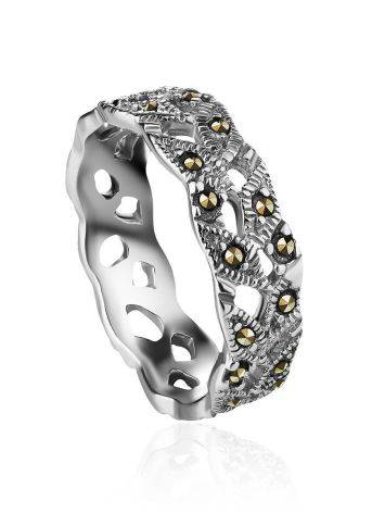 Filigree Sterling Silver Ring With Marcasites The Lace, Ring Size: 6 / 16.5, image