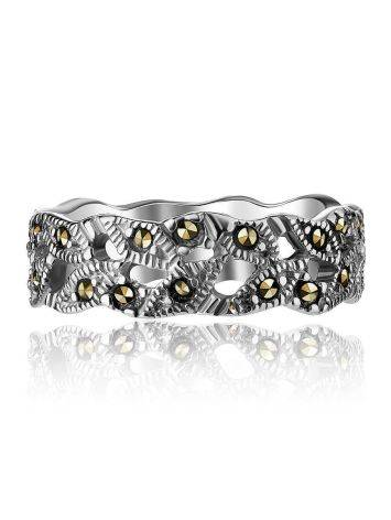 Filigree Sterling Silver Ring With Marcasites The Lace, Ring Size: 6 / 16.5, image , picture 3