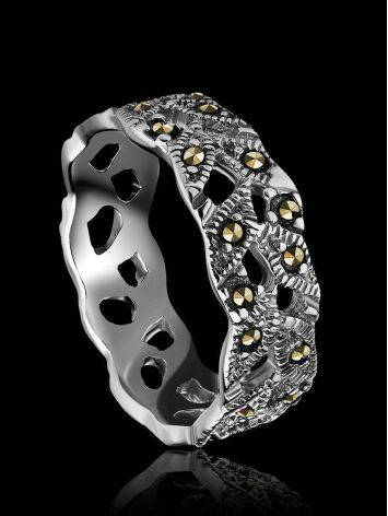 Filigree Sterling Silver Ring With Marcasites The Lace, Ring Size: 6 / 16.5, image , picture 2