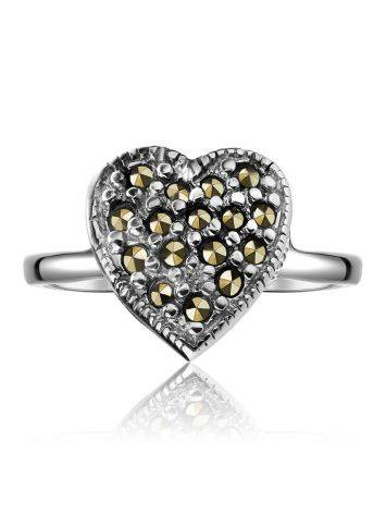 Silver Heart Shape Ring with Marcasites The Lace, Ring Size: 6.5 / 17, image , picture 3