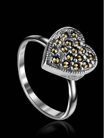 Silver Heart Shape Ring with Marcasites The Lace, Ring Size: 6.5 / 17, image , picture 2