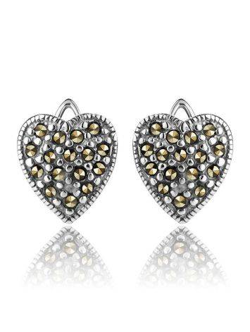 Silver Heart Shaped Earrings With Marcasites The Lace, image , picture 3