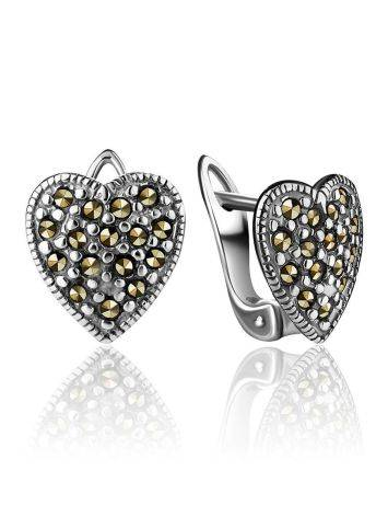 Silver Heart Shaped Earrings With Marcasites The Lace, image