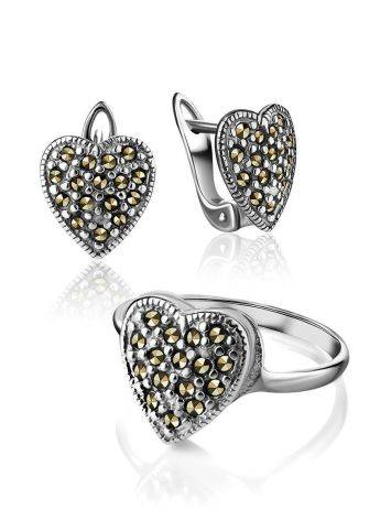 Silver Heart Shaped Earrings With Marcasites The Lace, image , picture 4