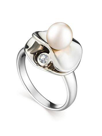 Silver Cocktail Ring With Cultured Pearl And Crystal The Serene, Ring Size: 7 / 17.5, image