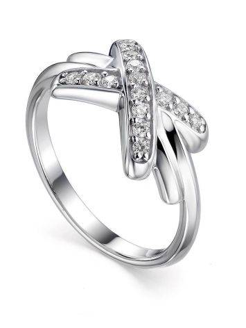 Ultra Stylish Silver Crystal Ring, Ring Size: 8 / 18, image