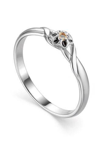 Silver And Gold Ring With Diamond Centerpiece, Ring Size: 7 / 17.5, image