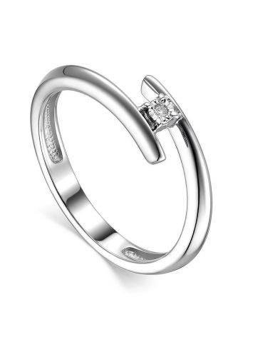 Sterling Silver Diamond Ring, Ring Size: 7 / 17.5, image