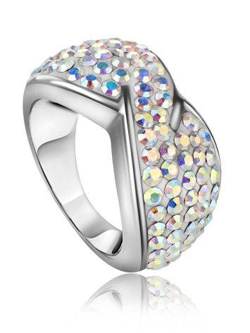 Chameleon Colored Crystal Ring In Sterling Silver The Eclat, Ring Size: 5 / 15.5, image