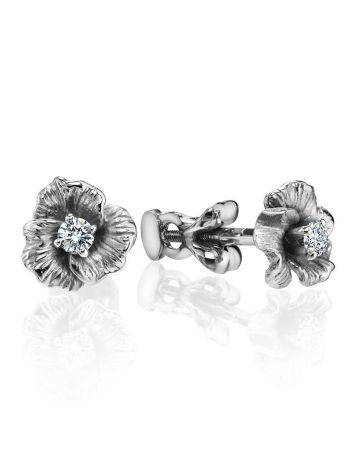 White Gold Floral Studs With Diamond Centerstones, image