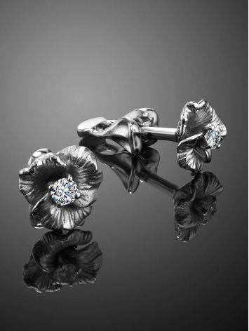 White Gold Floral Studs With Diamond Centerstones, image , picture 2