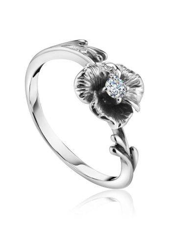 White Gold Floral Ring With Diamond Centerstone, Ring Size: 5.5 / 16, image