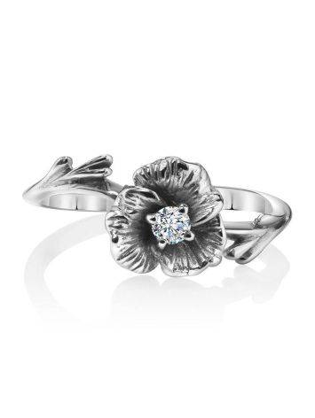 White Gold Floral Ring With Diamond Centerstone, Ring Size: 5.5 / 16, image , picture 3