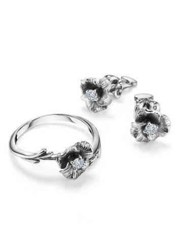 White Gold Floral Studs With Diamond Centerstones, image , picture 3