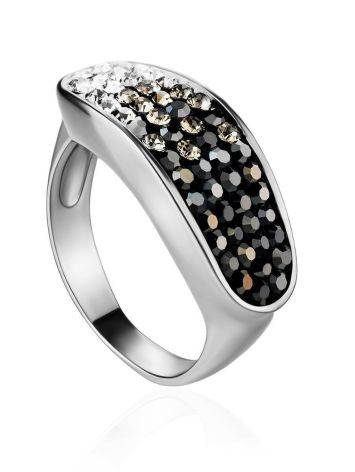 Sterling Silver Ring With Black And White Crystals The Eclat, Ring Size: 6 / 16.5, image