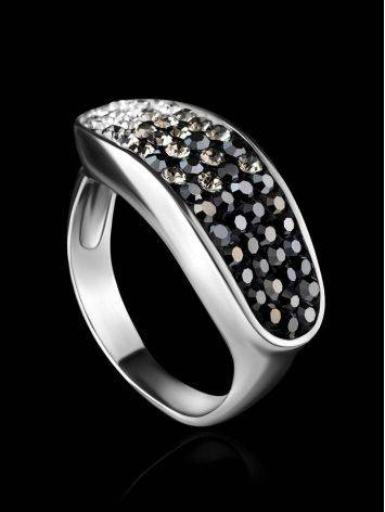 Sterling Silver Ring With Black And White Crystals The Eclat, Ring Size: 6 / 16.5, image , picture 2