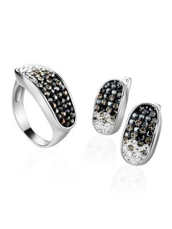 Sterling Silver Ring With Black And White Crystals The Eclat, Ring Size: 6 / 16.5, image , picture 4