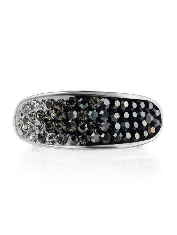 Sterling Silver Ring With Black And White Crystals The Eclat, Ring Size: 6 / 16.5, image , picture 3