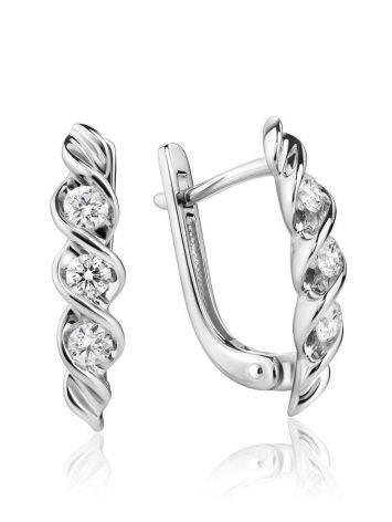 White Gold Diamond Earrings, image