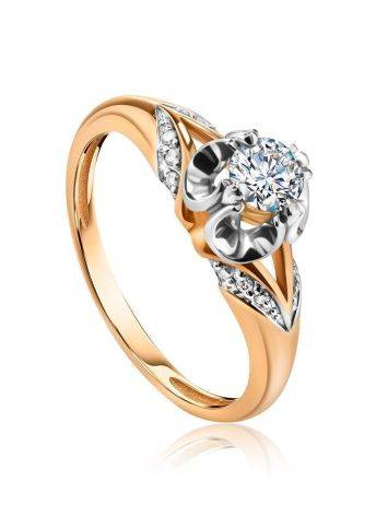 Golden Statement Ring With White Diamonds, Ring Size: 8 / 18, image