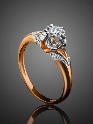 Golden Statement Ring With White Diamonds, Ring Size: 8 / 18, image , picture 2
