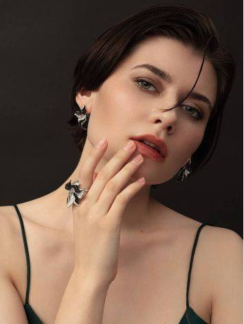 Silver Floral Earrings With Dark Crystals The Jungle, image , picture 3