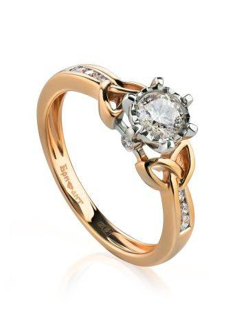 Golden Floral Ring With White Diamonds, Ring Size: 6.5 / 17, image