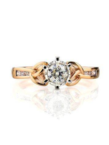 Golden Floral Ring With White Diamonds, Ring Size: 6.5 / 17, image , picture 3