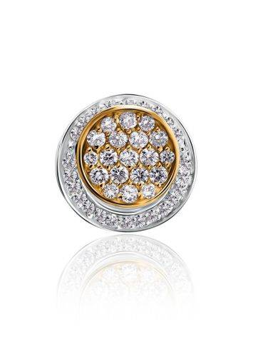 Round Two Tone Gold Pendant With White Diamonds, image