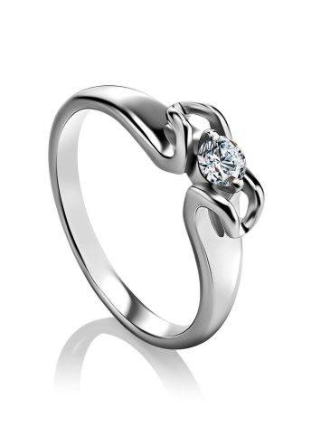 Sterling Silver Floral Ring With Solitaire Crystal, Ring Size: 5.5 / 16, image