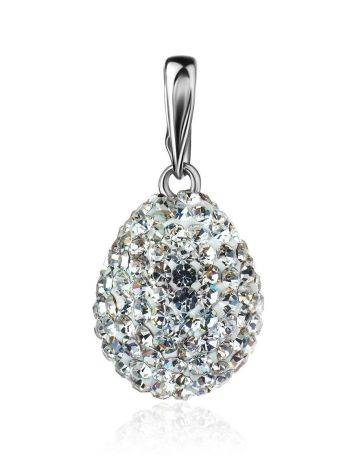 Silver Drop Pendant With White Crystals The Eclat, image
