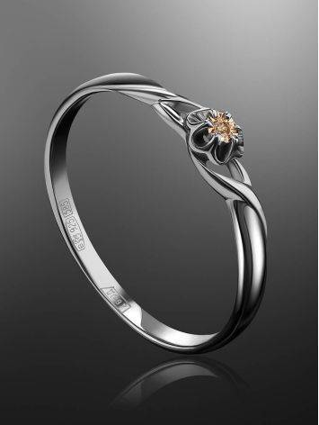 Silver And Gold Ring With Diamond Centerpiece, Ring Size: 7 / 17.5, image , picture 2