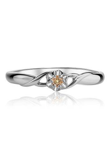 Silver And Gold Ring With Diamond Centerpiece, Ring Size: 7 / 17.5, image , picture 3