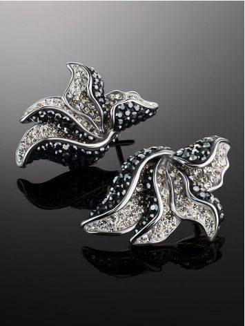 Silver Floral Earrings With Dark Crystals The Jungle, image , picture 2