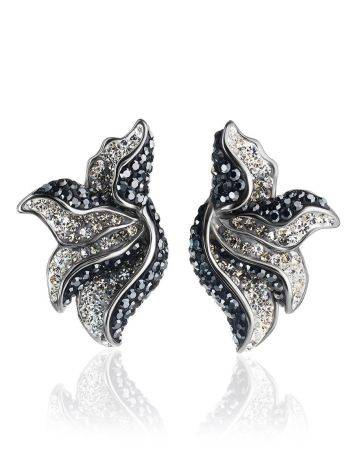 Silver Floral Earrings With Dark Crystals The Jungle, image
