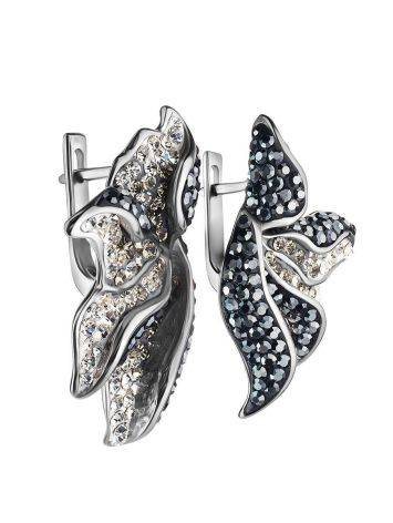 Silver Floral Earrings With Dark Crystals The Jungle, image , picture 4