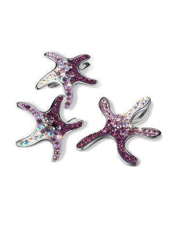 Multicolor Crystal Starfish Earrings In Silver The Jungle, image , picture 4