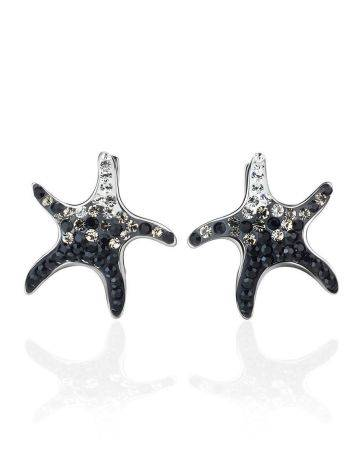 Silver Starfish Earrings With Black And White Crystals The Jungle, image , picture 4