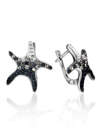 Silver Starfish Earrings With Black And White Crystals The Jungle, image