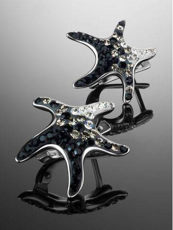Silver Starfish Earrings With Black And White Crystals The Jungle, image , picture 2