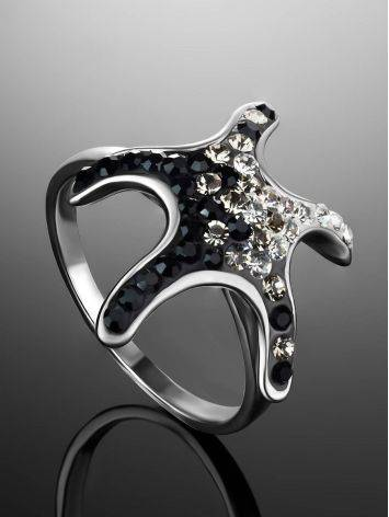 Silver Starfish Ring With Black And White Crystals The Jungle, Ring Size: 9 / 19, image , picture 2