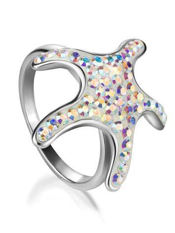 Silver Starfish Ring With Chameleon Crystals The Jungle, Ring Size: 6.5 / 17, image